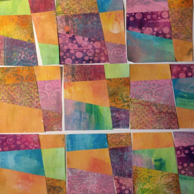This all looks a bit patchworky! Playing with papers, chopping and rearranging. No goal in mind, just to play.