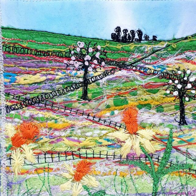 Spring scene as part of a set from winter landscapes with Isobel Moore, just summer to go!  #izzymooreart #fabricscraps #textilelandscape #freemotionembroidery #springtime