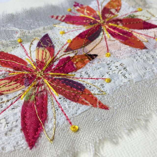 Something completely different in the Studio today! A couple of little appliqué flowers on recycled linen and paper.