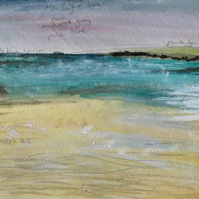 """Late to the party (the podcast party with @gina_ferrari_art that is) in showing you some of my sketchbooks! But just in time for """"inspiration"""" which it tomorrow's topic.  For many a year now, I've been hugely inspired by the beach in Brittany where we (usually) camp each summer. I've sketched it, painted it, stitched it (and created an online course based on it!) and stood in the water with a sketchbook sketching the seaweed as it wafts gently in the moving water as the tide comes in…  Most of the time, it's windy - not conducive to sitting and painting for long, so I usually sketch a few lines and write notes about the colours.   Sometimes I will take my rough sketches, and draw things again when I'm back at my tent, and I've been known to bring back a little bucket of broken seaweed fragments, and sandwich them between wet painted pages in my sketchbook.   Sometimes I write notes about specific things I've noticed, such as the way the water trickles across the sand, creating patterns, or I write short notes or words to describe my feelings.   I particularly love the feeling of warmth and comfort, wearing my favourite clothes (there's a lot of soft well-worn linen and cotton involved) after a swim in the cold sea followed by a hot shower. That feeling immediately after, when the salt is washed out of my hair, I'm feeling warm and zingy, preferably with a glass of rosé in my hand, sitting in the sun listening to the sound of other families starting up barbecues and popping corks (such an iconic sound on the campsite: Breton cidre bottles being opened!) I'm at my absolute happiest then.   Standing in the sea, up to my knees, drawing the gently swirling fronds of seaweed comes a very close second…  What inspires you?"""
