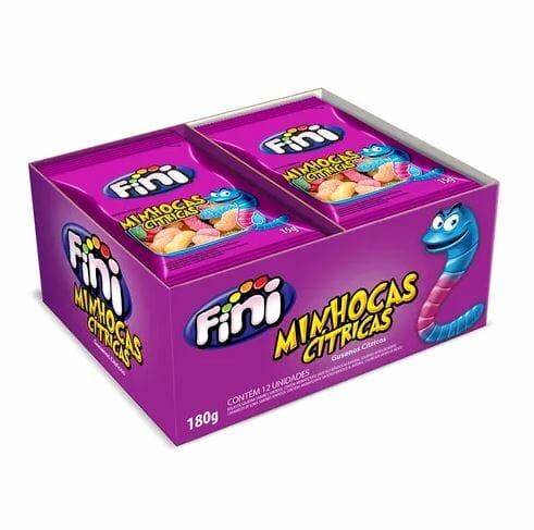 Mini Minhocas Citrícas com 12 pacotes de 15g cada - Fini