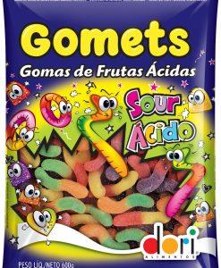 Bala de Goma Gomets Minhoca Fruta Acidas 600g - Dori