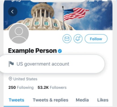 twitter labeled government account