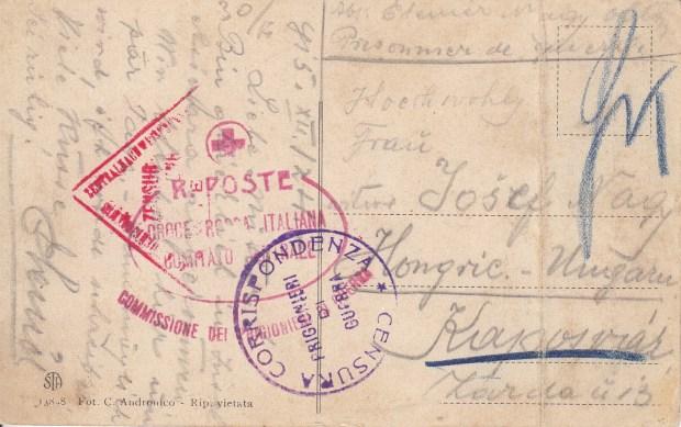 Retro della Cartolina spedita dall'Asinara (Coll. Luisa Deiana)