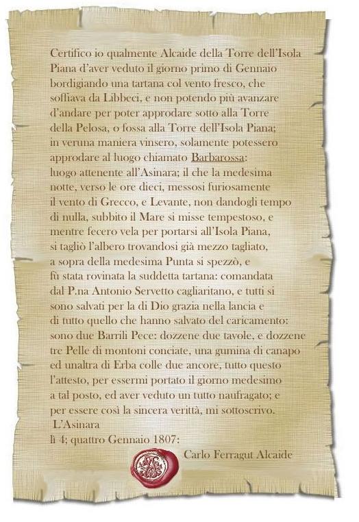 La dichiarazione dell'Alcaide dell'Isola Piana Carlo Ferragut
