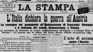 Un fermo immagine della prima pagina de La Stampa di lunedì 24 maggio 1915