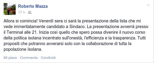 Post di Roberto Mazza su Facebook