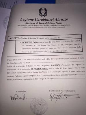 L'esposto al Carabinieri di Fadino Di Pietro e Ivan Vaccari (pag. 1)