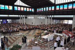 L'interno del Santuario di San Gabriele