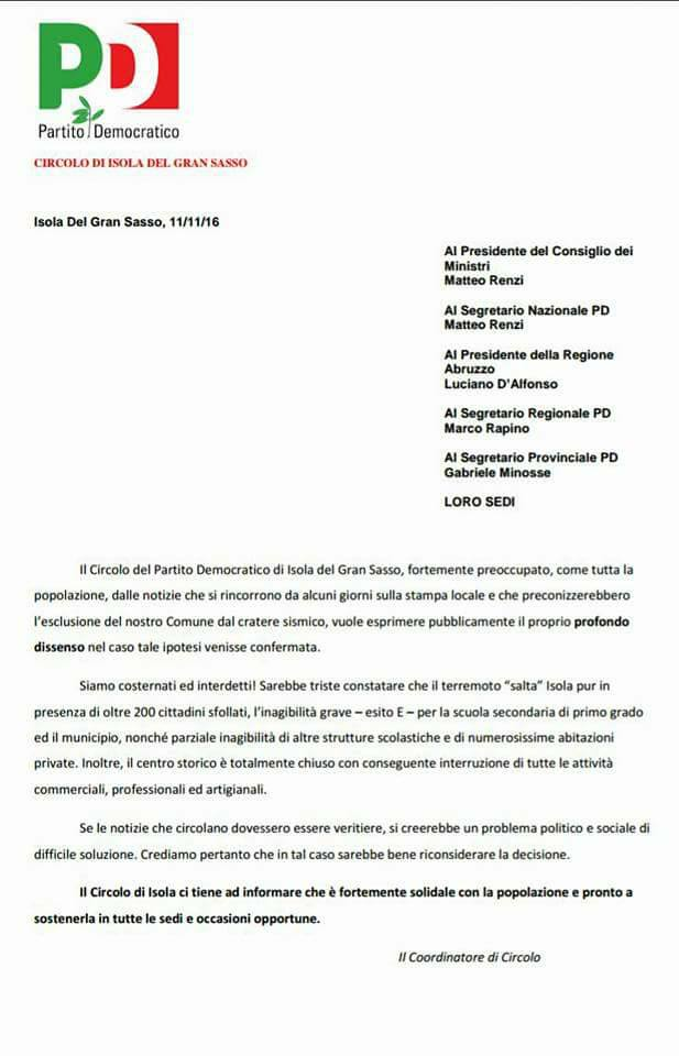 Lettera PD a Luciano D'Alfonso
