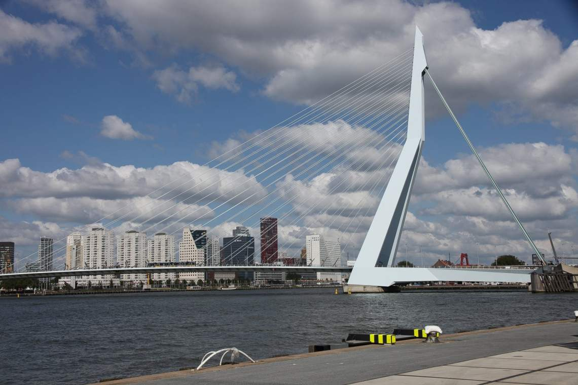 The Erasmus bridge, that celebrates its 20th birthday today
