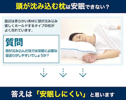 頭が沈み込む枕は寝にくい