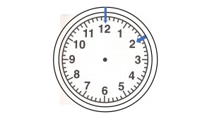 clock face with hands pointing in