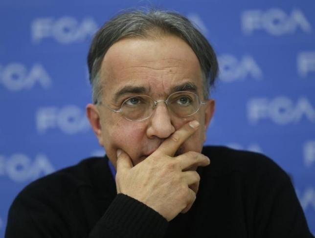 Sergio Marchionne, Chief Executive of Fiat Chrysler, speaks during the first press preview day of the North American International Auto Show in Detroit, Michigan January 12, 2015. REUTERS/Rebecca Cook