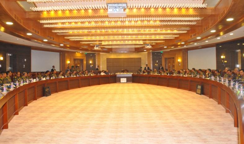 মাননীয় প্রধানমন্ত্রী শেখ হাসিনা রোববার (২৪-৭-২০১৬) ঢাকা সেনানিবাসস্থ সেনাসদর কনফারেন্স হল (হেলমেট) -এ 'সেনাসদর নির্বাচনী পর্ষদ-২০১৬' এর আনুষ্ঠানিক উদ্বোধন করেন। ছবি: আইএসপিআর।