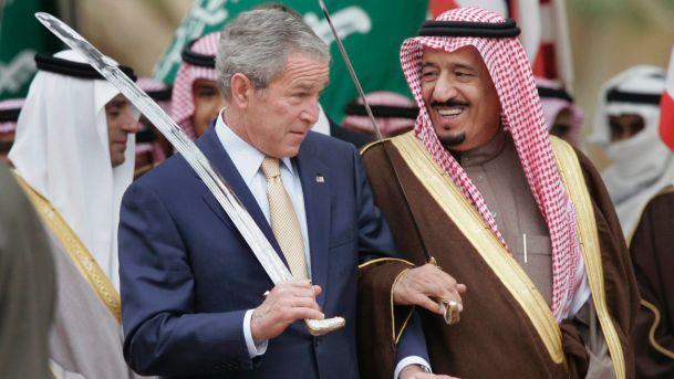 President Bush stands with Saudi Prince Salman, right, brother of Saudi King Abdullah, in Al Janadriyah, Saudi Arabia, Jan. 15, 2008.AP President Bush stands with Saudi Prince Salman, right, brother of Saudi King Abdullah, in Al Janadriyah, Saudi Arabia, Jan. 15, 2008. AP