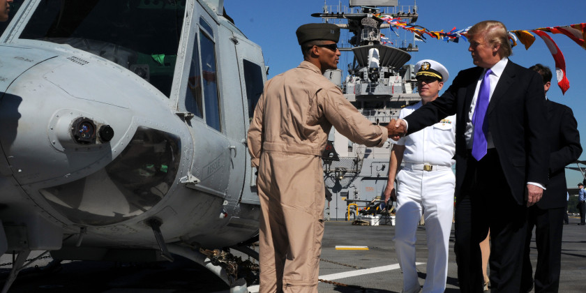 Donald Trump Greeting Helicopter Pilot on Aircraft Carrier