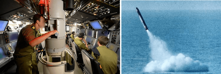 Israeli Dolphin class submarine (left) courtesy IDF Spokesperson's Unit, picture of a nuclear-armed Harpoon missile launched from a Dolphin-class submarine (right).