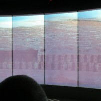 Audio-visual movie screened on windows overlooking the site of the Tabernacle