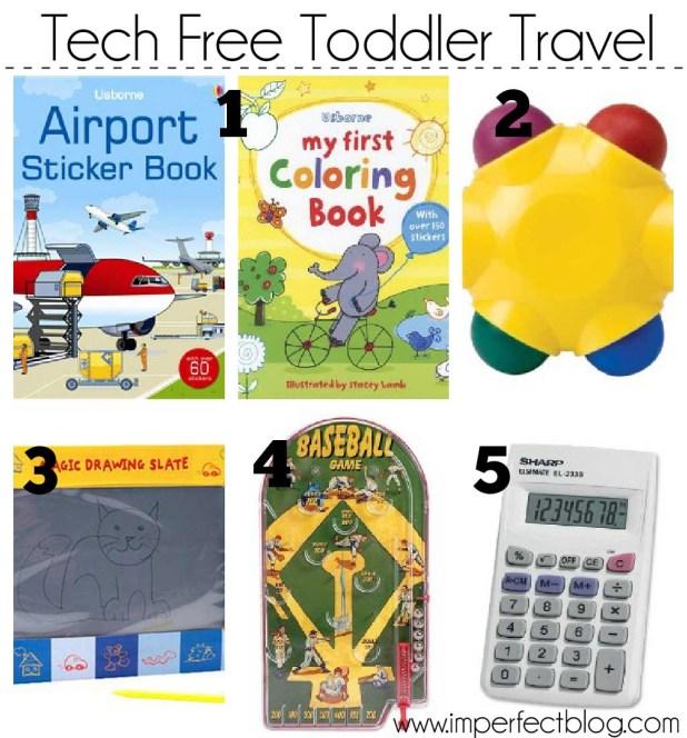 tech free toddler travel