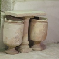 Stone table and pots