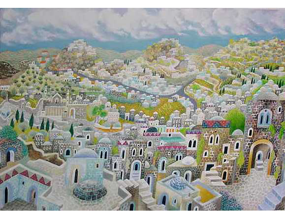 City of the Patriarch. Artist: Baruch Nachshon. Hand Signed & Numbered Limited Edition Serigraph