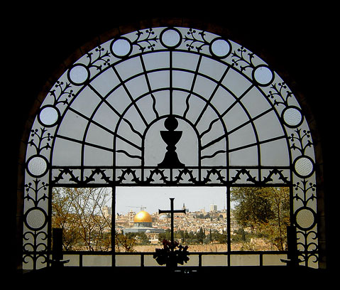 Dominus Flevit western window above altar