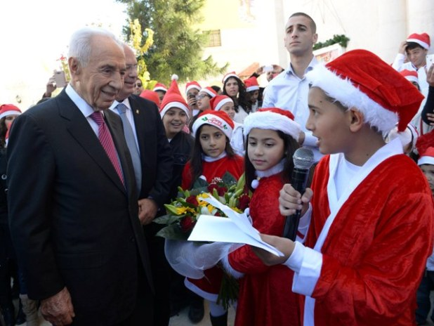 President Shimon Peres at the Franciscan Church in Ramla