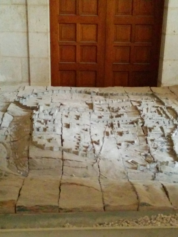 Model of old Jerusalem outside Chapel of the Condemnation. It shows Third Wall at right and Calvary and the Tomb of Christ