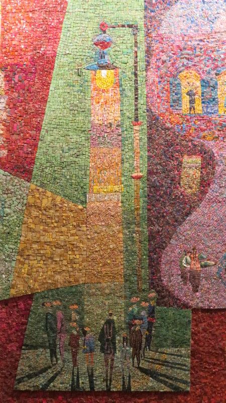 Nahum Gutman's Mosaic Wall - the first lamp post