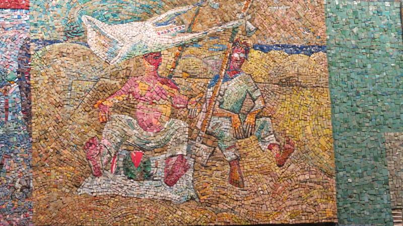 Nahum Gutman's Mosaic Wall - Workers eating watermelon