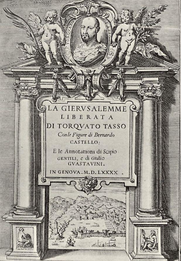 Agostino Carracci, Frontespizio della prima edizione illustrata della Gerusalemme Liberata, 1590