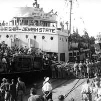 "Haganah ship Medinat HaYehudim (""Jewish State"") in Haifa port, 1947 - Public Domain"