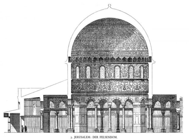Cross section of the Dome (print from 1887, after the first detailed drawings of the Dome, made by Frederick Catherwood in 1833)