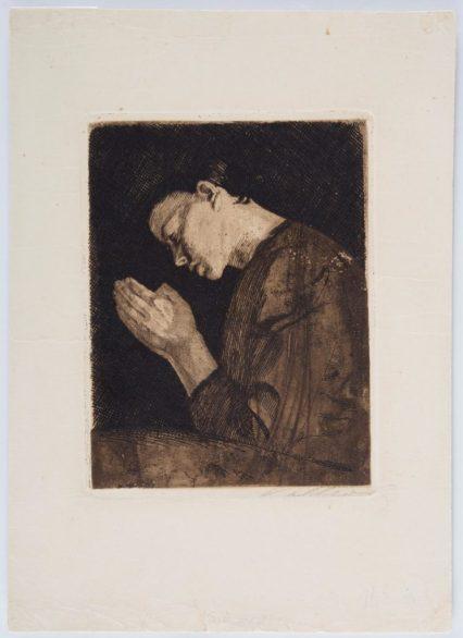 ете Кольвиц | м.р. Кёнигсберг, Германия, 1867-1945 | «Молящаяся женщина», 1892 | Работа выполнена в технике акватинта, сухая игла и гравюра | Из коллекции музея искусств в Хайфе