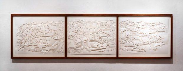 """Пелег Дишон-Шитафон. Триптих """"Старо-новый Вавилон"""". Из коллекции художницы. Вырезка из бумаги. Выставка """"Минегед""""."""