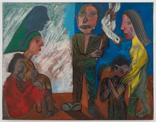 Avraham Ofek (1935, Burgas, Bulgaria – 1990, Jerusalem), Kapparot, 1970 Oil on canvas, 115x146, collection of the Ofek family