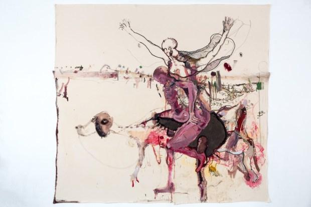 2017 ,The Boy is a Bag of Needs , באר־שבע), 1974אמיר נווה (נ' , אוסף לוין240x260שמן וגרפיט על בד, Amir Nave (b. 1974, Beer Sheva, Israel), The Boy is a Bag of Needs, 2017 Oil and graphite on canvas, 240x260, the Levin Collection