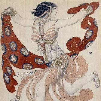 Леон Бакст.  Эскиз костюма Клеопатры для Иды Рубинштейн. 1909 год