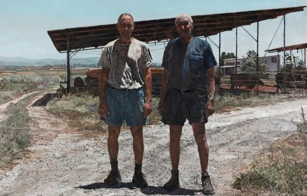 """אלי שמיר אבא ואני בגודל טבעי, 2011 שמן על בד, 320x206ס""""מ, אוסף קלי (צילום: רן ארדה) Elie Shamir Father and I – Life-Size, 2011 Oil on canvas, 320x206 cm Kali Collection (photo: Ran Erde)"""