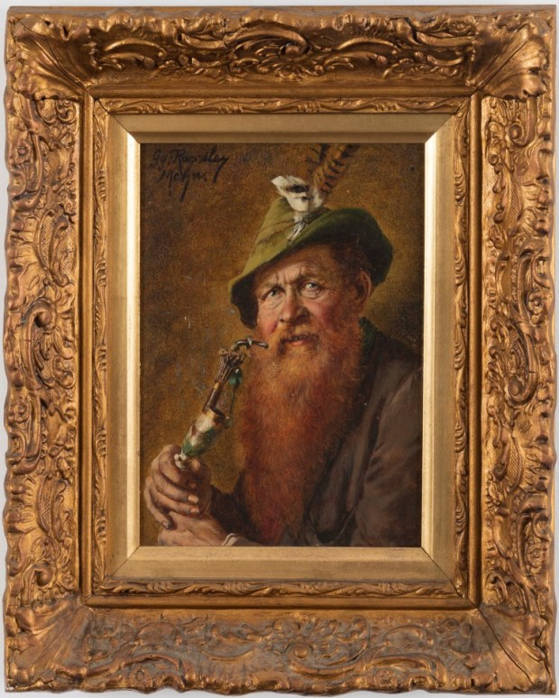 George Roessler. Man with a Pipe, late 19th or early 20th century. Oil on panel, 24x18 cm. Collection of Herzliya Museum of Contemporary Art (photo: Avraham Hay)