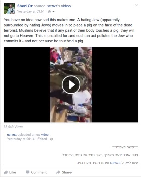 humiliating dead terrorist with pig