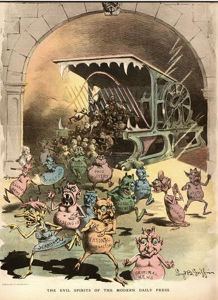 """Even the Jerusalem Post perpetuates anti-Israel media bias - """"The Evil Spirits of the Modern Day Press"""". Puck US magazine 1888; Nasty little printer's devils spew forth from the Hoe press in this Puck cartoon of Nov. 21, 1888."""