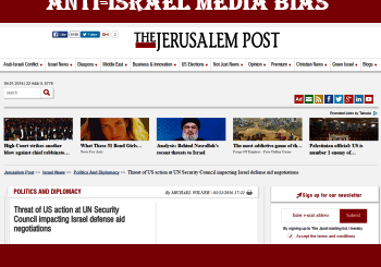 Page of the Jerusalem Post that shows article with words that perpetuate anti-Israel media bias