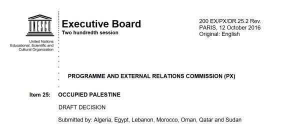 UNESCO draft resolution on Jerusalem