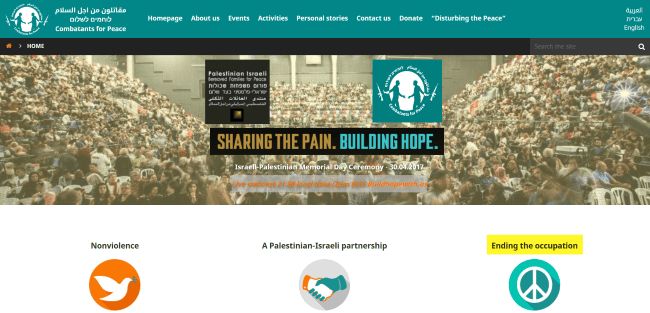 "homepage for peace organization ""combatants for peace"" website"