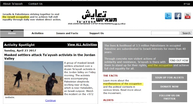 "homepage for peace organization ""Ta'ayush"" website"