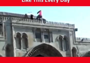Palestinian flag on Al Aqsa Mosque on Har HaBayit