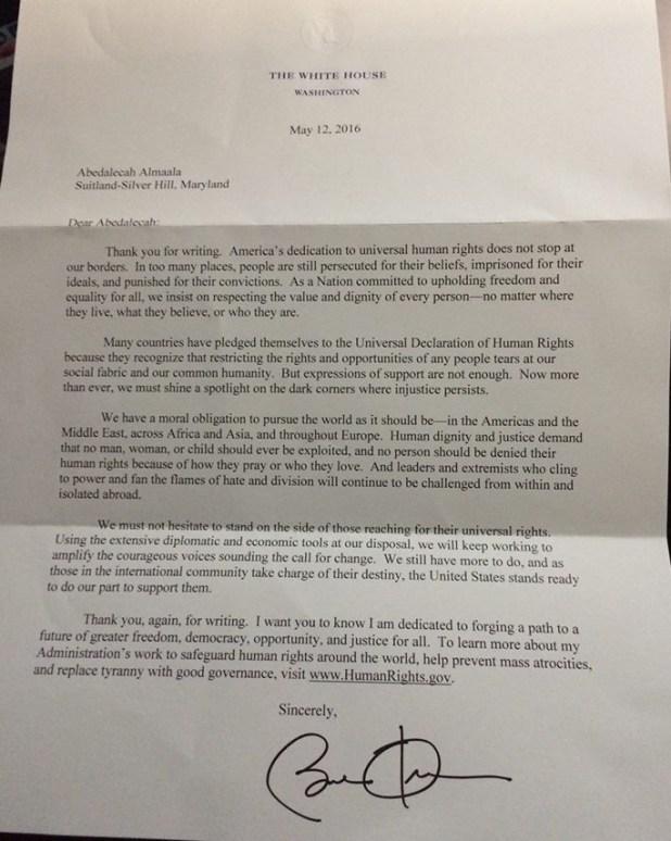 Mudar Zahran, Letter from Obama