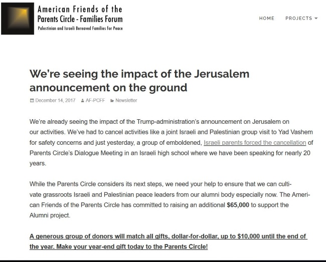 alleged impact of Trump's Jerusalem speech - cancellation of Parents Circle High School programme